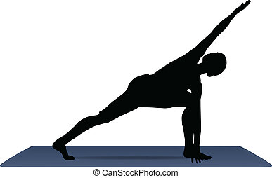 vector illustration of Yoga positions in Revolved Side Angle Pose