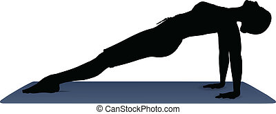 vector illustration of Yoga positions in Upward Plank Pose -...