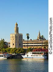 Golden Tower (Torre del Oro) of Sevilla, Spain - cityscape...