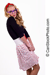 Isolated retro girl - Isolated retro girl in polka-dotted...