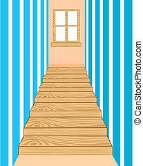 Wooden stairway in corridor
