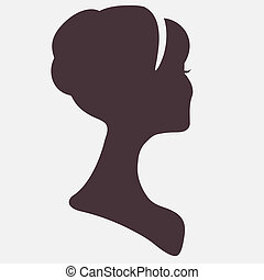Beautiful woman  head silhouette with stylish hairstyle