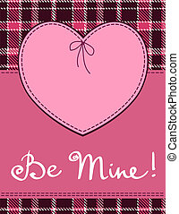 Heart in stitched textile style. Vector pink heart textile...