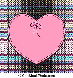 Valentine's day Card. Heart Shape Design with Knitted Pattern