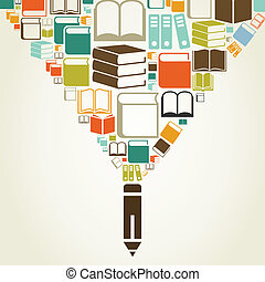 Book a pencil - From a book pencil. A vector illustration