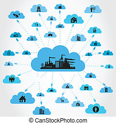 House a cloud - The house on a cloud A vector illustration