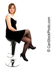 Sitting Lady - Full body view of attractive young woman...
