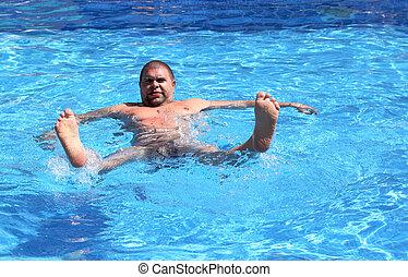 fun overweight man in pool