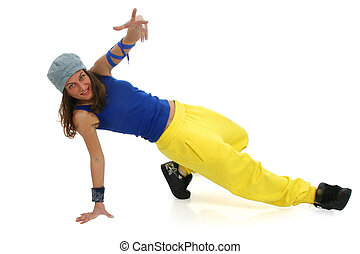 Street dancer - Full body view of young woman in street wear...