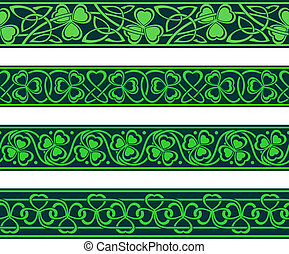 seamless borders with shamrock - set of four seamless...