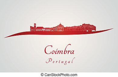 Coimbra skyline in red