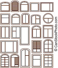 set isolated windows icons - set isolated windows silhouette...