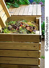 Composting - Compost bins made u200Bu200Bof wood for...