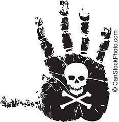 Handprint with skull - Handprint with a symbol of death...