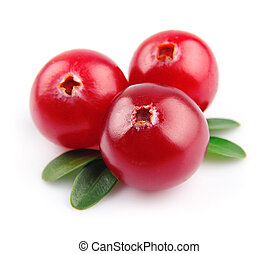 Sweet cranberries close up on white