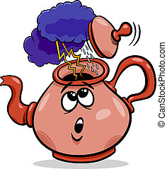 tempest in a teacup saying cartoon - Cartoon Humor Concept...