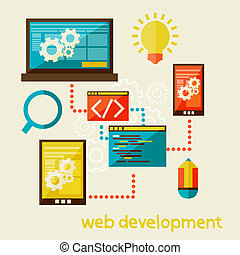 web development - Flat modern illustration, web design...