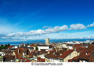 Skyline of Lausanne (Losanna) city, Switzerland.