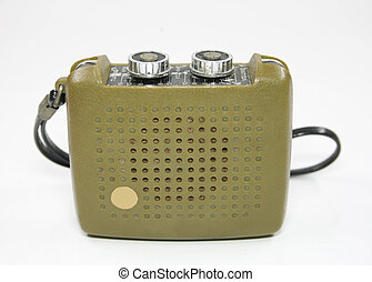 Vintage transistor radio isolated white