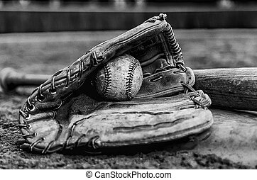 Baseball Glory Days - Baseball glory days with ball in glove...