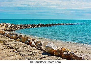 Breakwater Protecting the Beaches of the French Riviera