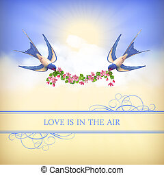 Flying bird, flower garland on sky background - Flying birds...