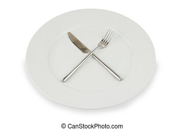 Plate with knife and fork on white - silver knife and fork...