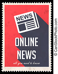 Online News on Red in Flat Design.