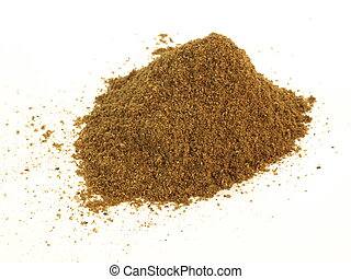 Garam masala, isolated - Heap of garam masala spice on white...