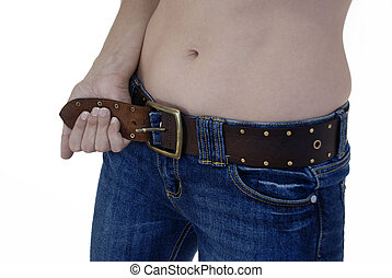 Tighten your belt - Already slim woman tries to tighten her...