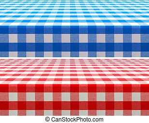 table surface perspective view covered by red and blue...