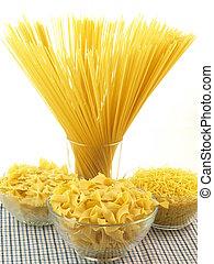 Pasta types - Types of pasta on isolated white background