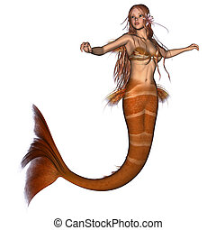 Golden Mermaid - 3D digital render of a cute mermaid...