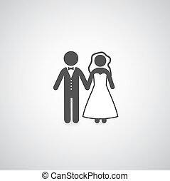 bride and groom symbol on gray background