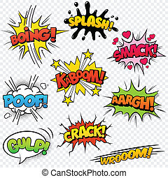 Comic Sound Effects set2 - Collection of nine multicolored...