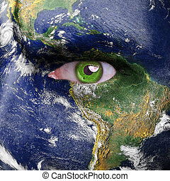 Nature concept - man face covered with earth photo -...