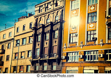 Old Belgrade buildings - Old building in Belgrade city with...