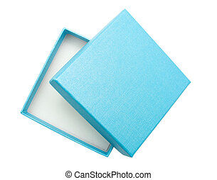 Gift box - Box of blue colour on a white background