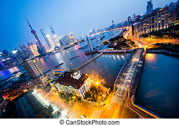 night view at shanghai china, huangpu river and bund