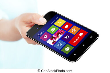 hand holding mobile phone with application screen over white