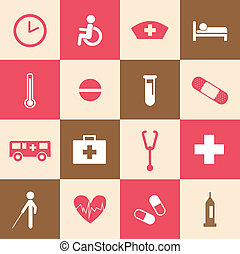 hospital icons set