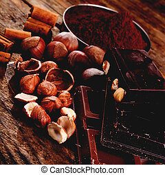 chocolate and ingredients - chocolate with some ingredients