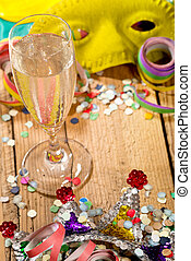 Wine Glass - still life with wine glass and carnival glitter