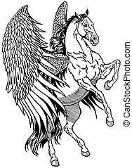 white pegasus - pegasus, mythological winged horse, black...