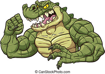 Alligator mascot clip art Vector cartoon illustration All in...