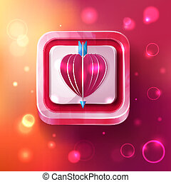 Valentines day card with arrow on sparkles background