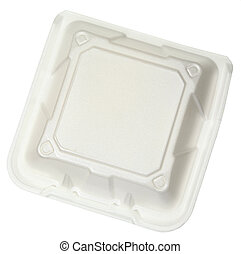 Top View Closed Styrofoam Food Container isolated over white...