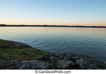 luz, tarde, lago
