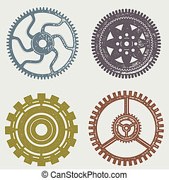 Vintage Gears - Set of old worn gears and cogs