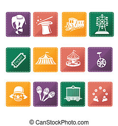 Circus  icons - A vector illustration of circus icon sets